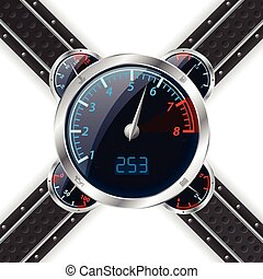 Analog rev counter with digital speedometer and abstract...