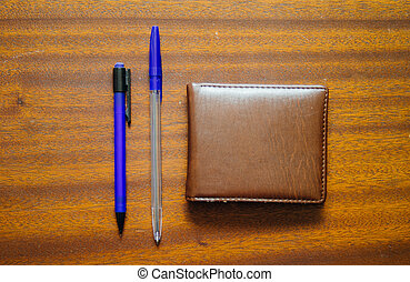 Pen, Pencil And Money Wallet