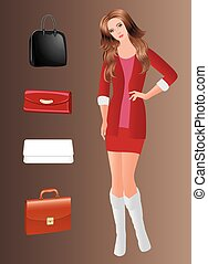 Vector girl and set of colorful bags.