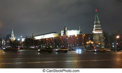 View on Kremlin wall and towers, Moscow.