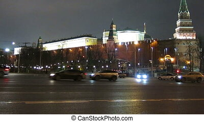 View on Kremlin wall and towers, Moscow