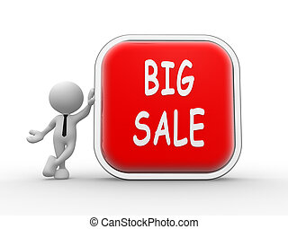 Big sale - 3d people - man, peson with button Big sale