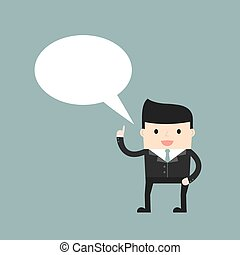 Business situation Businessman with a speech bubble Vector...