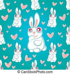 rabbits blue seamless pattern