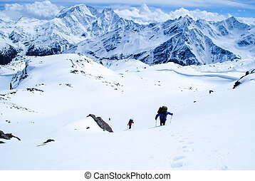 Hiking in winter mountains