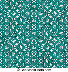 Teal and White Eight Pointed Pinwheel Star Symbol Tile...