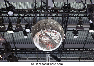 Party lights disco ball at a nightclub