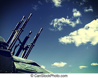 Weapons outdoor - Toned Photo of Large Caliber Machine-gun...