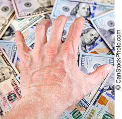 Hand on the Money - Human Hand on the American Dollars...