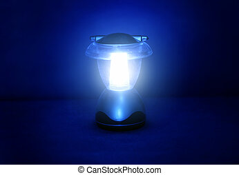 Lamp in the Dark - Small Lamp with the Blue Light in the...