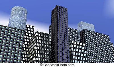 Buildings by morning - Buildings with ligthened windows by...