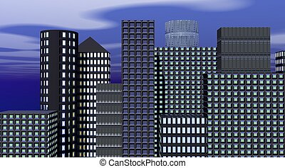 Buildings in the evening - Buildings with enlightened...