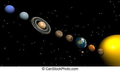 solar, sistema, noturna