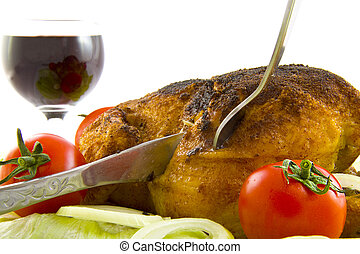 Party chicken - Chicken with tomatoes and salad isolated...