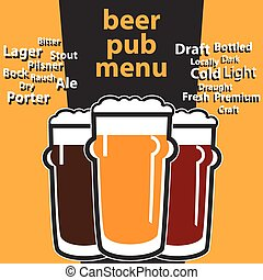 vector design pub beer menu with typing themes sorts beers -...