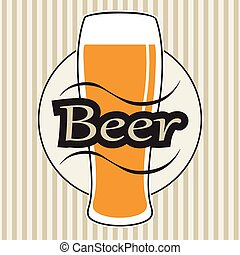 vector beer glasse with lettering on retro background with...