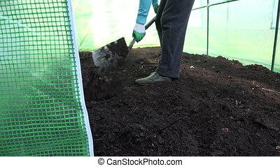 farmer dig soil hothouse