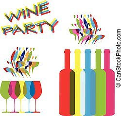 vector concept elements for wine party in contrast colors -...