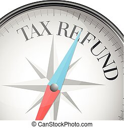 compass Tax Refund - detailed illustration of a compass with...