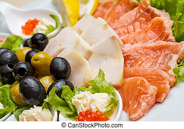 Fish platter - Overhead view of a smoked salmon and cheese...