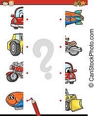 education matching game cartoon - Cartoon Illustration of...