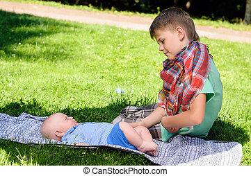 two boys in garden