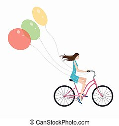 girl on bike - young girl on a bicycle with balloons
