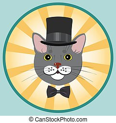 elegant cat in top hat and bow tie