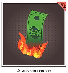 money burning fire vector illustration paper dollar business