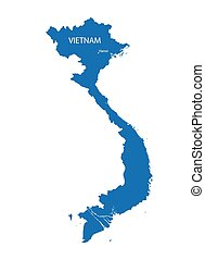 blue map of Vietnam with indication of Hanoi