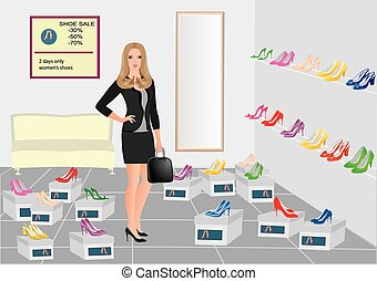 Girl in the shoe shop with set of shoes