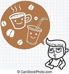 sleepy guy and coffee
