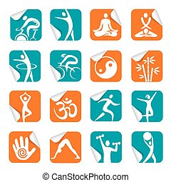 Square Sticker with sport spa icons - Set of colorful Square...