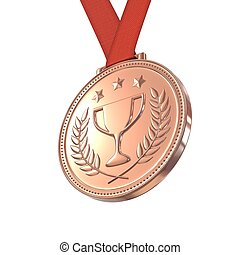 Bronze medal with laurels, stars and cup on a red ribbon...