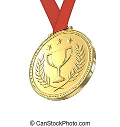 Gold medal with laurels , stars and cup Round blank coin...