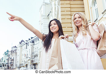 Two friend having fun at shopping - Friends on shopping....
