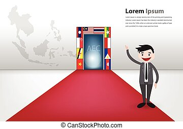 gateway to aec for business opportunity vector eps10