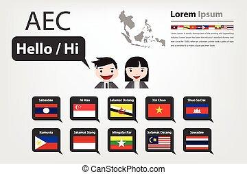 Hola, estilo,  vector, decir, asiático