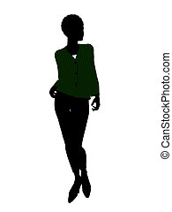 African American Female Office Illustration Silhouette -...