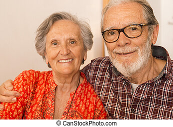 Old couple portrait - Old couple at the restaurant and...