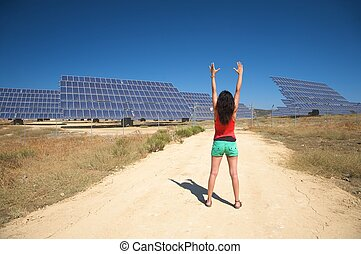 arms up and solar panels - solar power panels at vejer in...