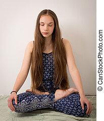 Teenage Hippie Brunette Girl In Lotus Pose - Beautiful...