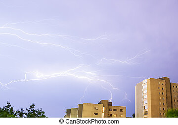 Lightning near buildings