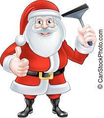 Cartoon Santa Holding a Squeegee - A Christmas cartoon...