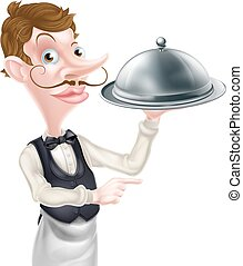 Pointing Cloche Waiter - An illustration of a cartoon waiter...