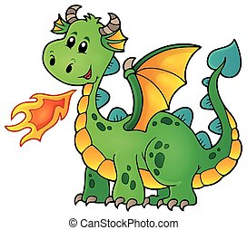 Green happy dragon - eps10 vector illustration.