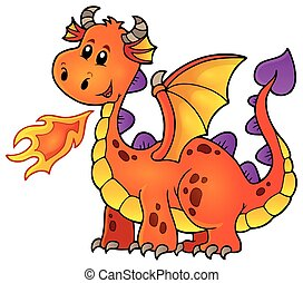 Orange happy dragon - eps10 vector illustration.