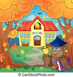 Owl teacher near school building theme 1 - eps10 vector...