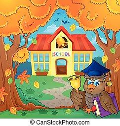 Owl teacher near school building theme 1 - eps10 vector...