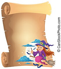 Parchment with cute witch theme 1 - eps10 vector...